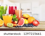 composition of fruits and... | Shutterstock . vector #1297215661