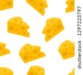 seamless pattern with cheese... | Shutterstock .eps vector #1297223797