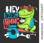 skateboard dinosaur urban t... | Shutterstock .eps vector #1297226437