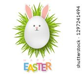 easter background with 3d white ... | Shutterstock .eps vector #1297241494