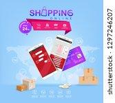 shopping online on website or...   Shutterstock .eps vector #1297246207