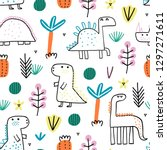baby seamless pattern with cute ... | Shutterstock .eps vector #1297271611