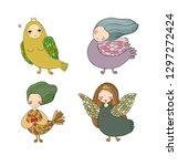 girl sirin. mythological bird.... | Shutterstock .eps vector #1297272424