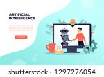 robot and man make agreement by ... | Shutterstock .eps vector #1297276054