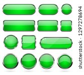green glass buttons with metal... | Shutterstock .eps vector #1297278694