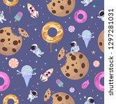 sweet space seamless pattern... | Shutterstock .eps vector #1297281031
