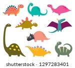 funny cartoon dinosaurs... | Shutterstock .eps vector #1297283401