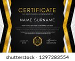 certificate template with... | Shutterstock .eps vector #1297283554