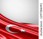 turkey  flag of silk with... | Shutterstock . vector #1297286491