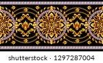 border with golden baroque... | Shutterstock .eps vector #1297287004