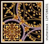 design scarf with golden... | Shutterstock .eps vector #1297288231