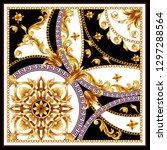 design scarf with golden... | Shutterstock .eps vector #1297288564