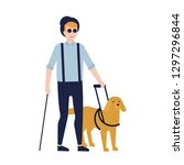blind man and guide dog... | Shutterstock .eps vector #1297296844