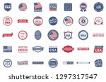 collection of 35 red and blue... | Shutterstock .eps vector #1297317547