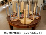 round table stacked chairs | Shutterstock . vector #1297331764