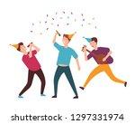group of joyful young men or... | Shutterstock .eps vector #1297331974