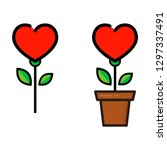 cartoon heart flower in a pot... | Shutterstock .eps vector #1297337491