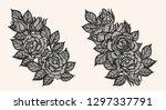 rose lace ornament vector by... | Shutterstock .eps vector #1297337791