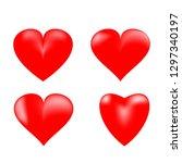heart 3d set. red sign on white ... | Shutterstock .eps vector #1297340197