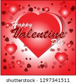 happy valentines day card with  ... | Shutterstock . vector #1297341511