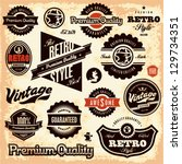 Stock vector retro labels vintage labels collection premium quality guarantee vintage styled signs set 129734351