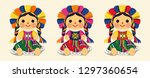 mexican traditional doll  maria ... | Shutterstock .eps vector #1297360654