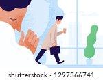 sad sleepy man or clerk holding ... | Shutterstock .eps vector #1297366741