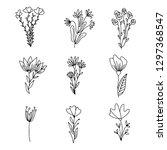 vector set of handdrawn doodle... | Shutterstock .eps vector #1297368547