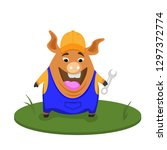 funny pig builder. profession... | Shutterstock .eps vector #1297372774