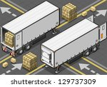 cargo,commercial land vehicle,container,convoy,delivering,delivery,freight transportation,freightliner,frigo,isolated,isometric,land vehicle,outline,rear view,semi truck