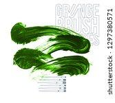green brush stroke and texture. ... | Shutterstock .eps vector #1297380571