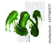 green brush stroke and texture. ... | Shutterstock .eps vector #1297380577