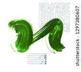 green brush stroke and texture. ... | Shutterstock .eps vector #1297380607