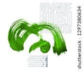 green brush stroke and texture. ... | Shutterstock .eps vector #1297380634