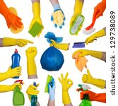 hands in rubber gloves doing... | Shutterstock . vector #129738089