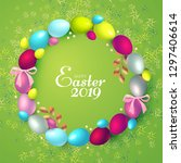 easter wreath with realistic...   Shutterstock .eps vector #1297406614
