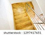 oak wooden staircase interior | Shutterstock . vector #1297417651