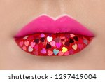 beautiful plump pink lips with... | Shutterstock . vector #1297419004