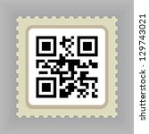 postage stamp with qr code | Shutterstock .eps vector #129743021
