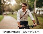 man enjoying music using... | Shutterstock . vector #1297449574