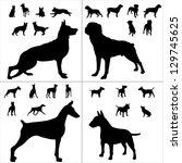 Stock vector dog collection vector silhouette 129745625