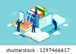 dictionary  modern library and... | Shutterstock .eps vector #1297466617