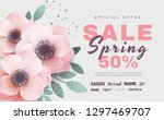 spring sale with beautiful... | Shutterstock .eps vector #1297469707
