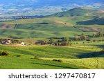 tuscany aerial sunset farmland...   Shutterstock . vector #1297470817