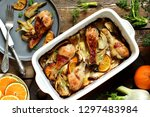dish with fennel. baked chicken ...   Shutterstock . vector #1297483984