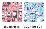 set of hand drawn fashion... | Shutterstock .eps vector #1297485634