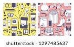set of hand drawn fashion... | Shutterstock .eps vector #1297485637