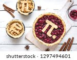 pi day cherry and apple pies  ... | Shutterstock . vector #1297494601
