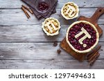 pi day cherry and apple pies  ... | Shutterstock . vector #1297494631