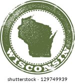 Vintage Style Wisconsin State Stamp - stock vector
